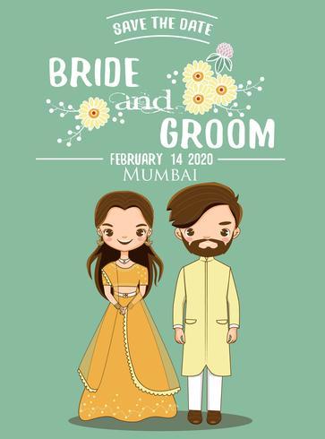 Pares indianos bonitos da noiva e do noivo para o cartão dos convites do casamento. vetor