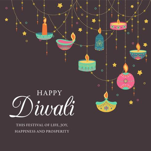Feliz Diwali. Festival de luz, cartão de felicitações. Diwali cartazes coloridos com símbolos principais.Deepavali luz e fogo festival. Festival hindu das luzes indianas do deepavali. Ilustração vetorial vetor