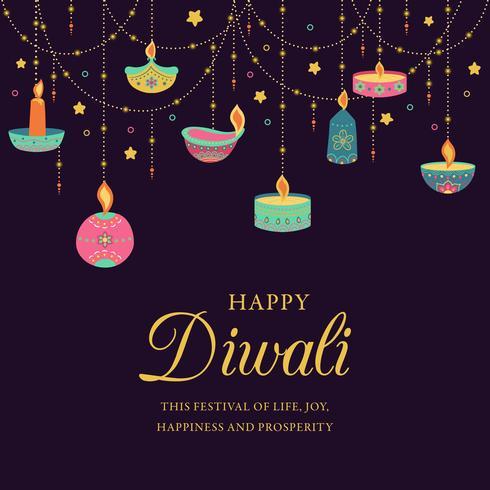 Feliz Diwali. Festival de luz, saudação cartão. Cartazes coloridos de Diwali com símbolos principais. Deepavali festival de luz e fogo. Festival hindu das luzes indianas do deepavali. Ilustração vetorial vetor
