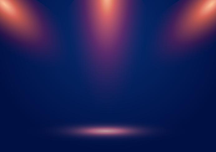 Fundo azul da mostra de estágio com projetores e raios alaranjados e efeito de incandescência. vetor