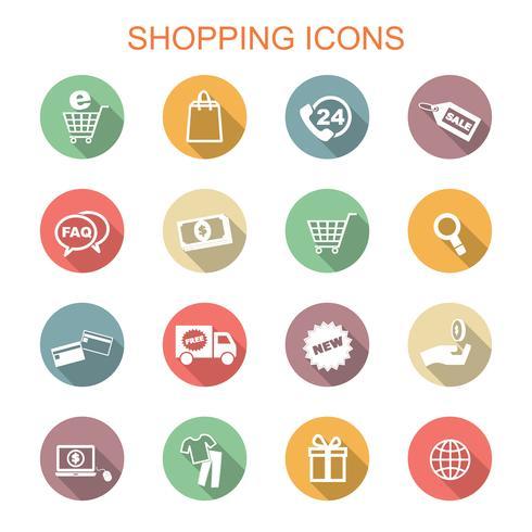 ícones de sombra longa de compras vetor