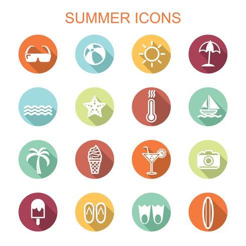ícones de longa sombra de verão vetor