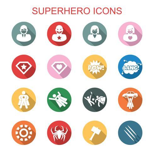 ícones de sombra longa super-herói vetor