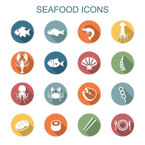 ícones de sombra longa de frutos do mar vetor