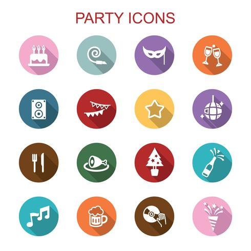 ícones de longa sombra de festa vetor