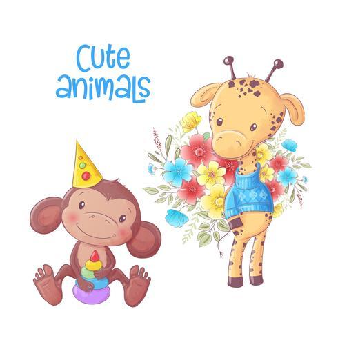 O macaco bonito dos animais dos desenhos animados e o girafa entregam o desenho. vetor