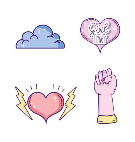 Conjunto de ícones de poderes de menina vetor