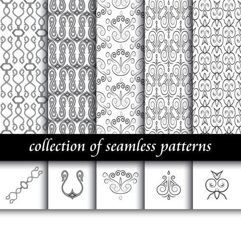 Conjunto de padrões sem emenda de art deco. Texturas modernas e elegantes. fundos abstratos vetor