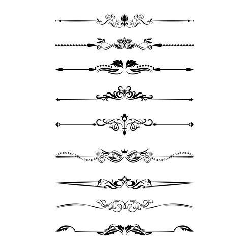 Elementos de design caligráfico. Divisores, quadros de diferentes formas. Vetor