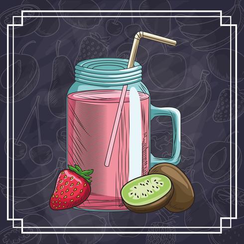 frutas e bebidas desenhadas à mão vetor