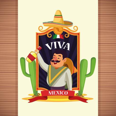 Desenhos animados de Viva México vetor