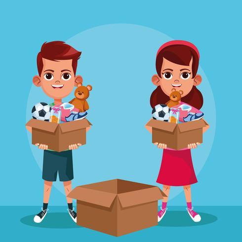 Desenhos animados de doação e caridade de crianças vetor