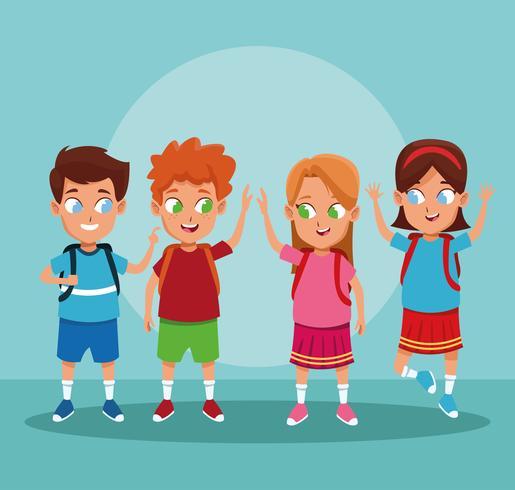Desenhos animados de meninos e meninas de escola vetor