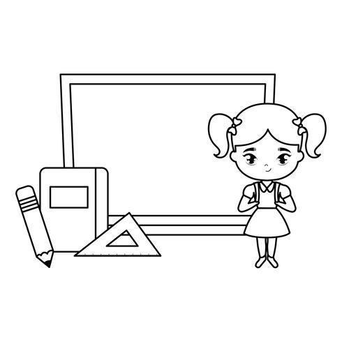 menina bonitinha estudante com placa e suprimentos escola vetor