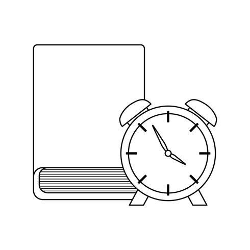 livro da biblioteca com o tempo do despertador vetor
