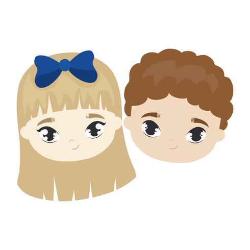 cabeças de caráter de avatar bonitinho crianças vetor