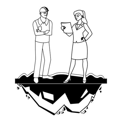 Construtor masculino Construtor com Engenheira vetor