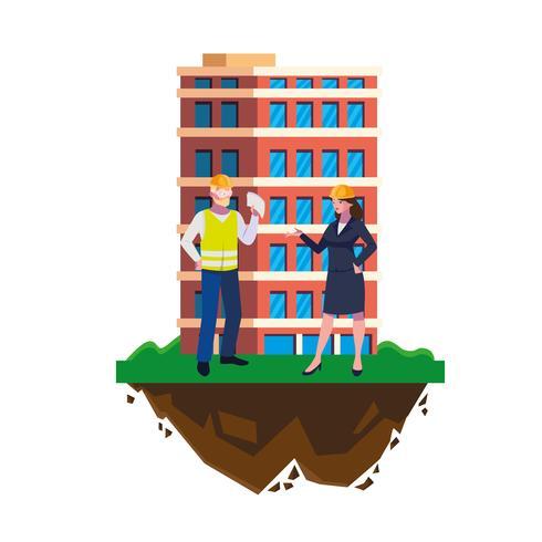 Construtor Construtor masculino com mulher engenheiro e construção vetor