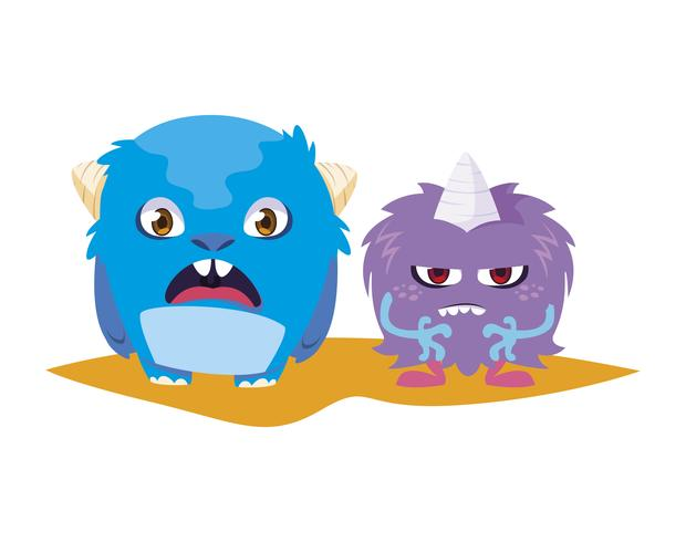 engraçado monstros casal personagens em quadrinhos coloridos vetor