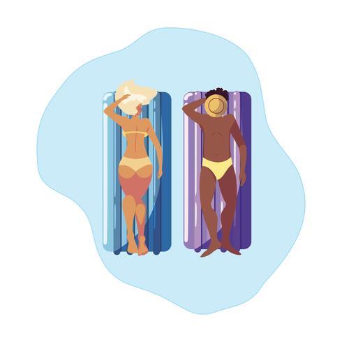 casal interracial com colchão flutuante na água vetor