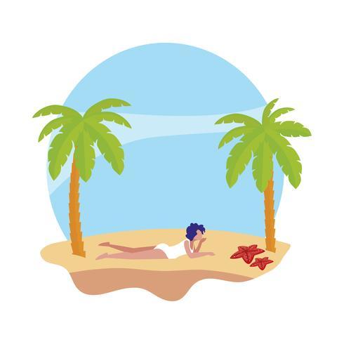 jovem mulher na cena do verão da praia vetor