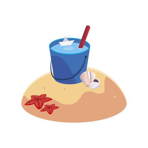 praia de areia de verão com cena de balde de água vetor