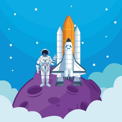Astronauta no desenho da galáxia vetor