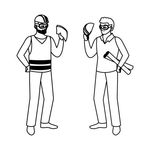 Construtor Construtor masculino com chefe arquiteto vetor