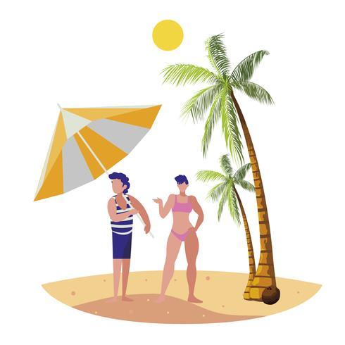 jovem rapaz com mulher na cena do verão praia vetor
