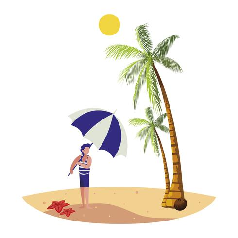 jovem rapaz na cena do verão praia vetor