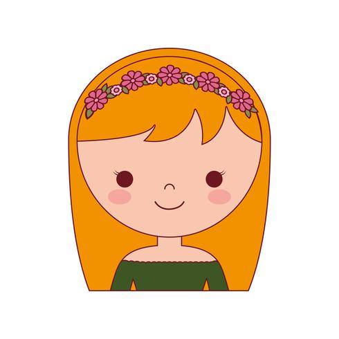 ícone de mulher dos desenhos animados vetor