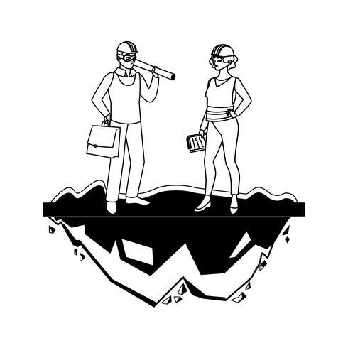 construtor de construtor feminino trabalhador com chefe de arquiteto vetor