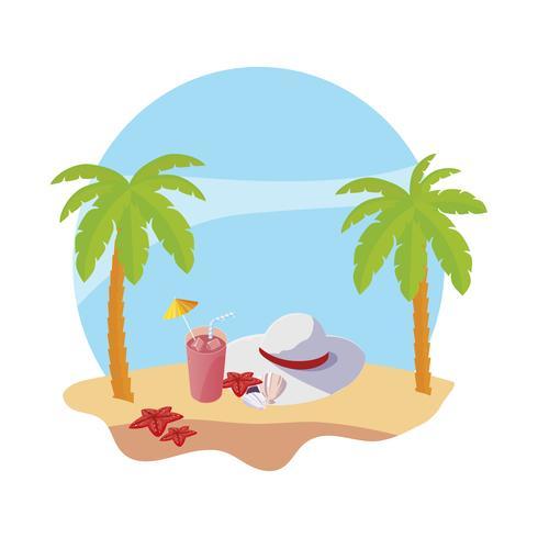 praia de verão com palmas e cena do chapéu feminino vetor