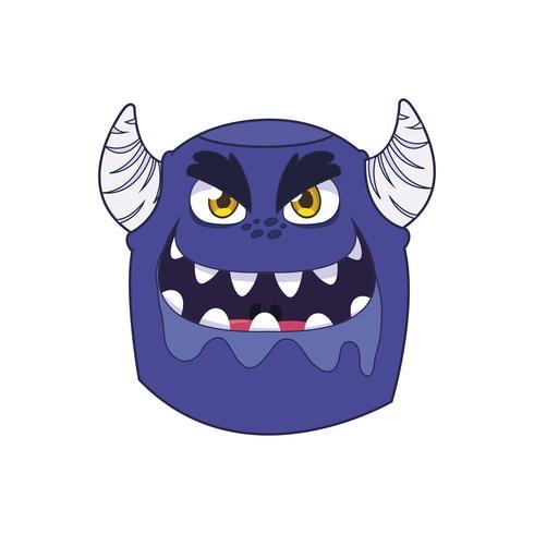 monstro engraçado com caráter cômico de chifres vetor