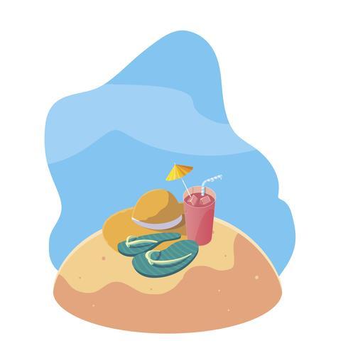 praia de areia de verão com cena de cocktail e ícones vetor