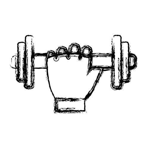 mão com ícone de halteres vetor