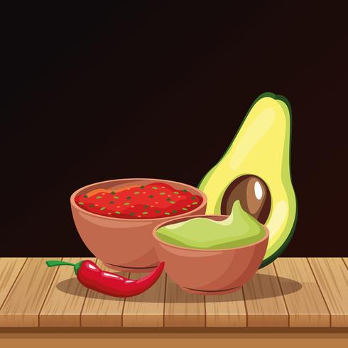 Desenhos animados de comida mexicana vetor