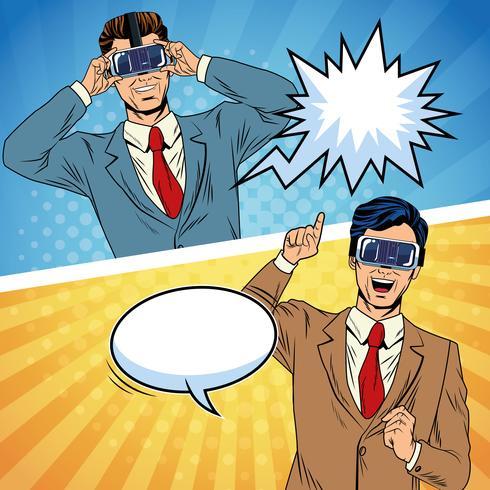 Empresários de realidade virtual cartoon de pop art vetor