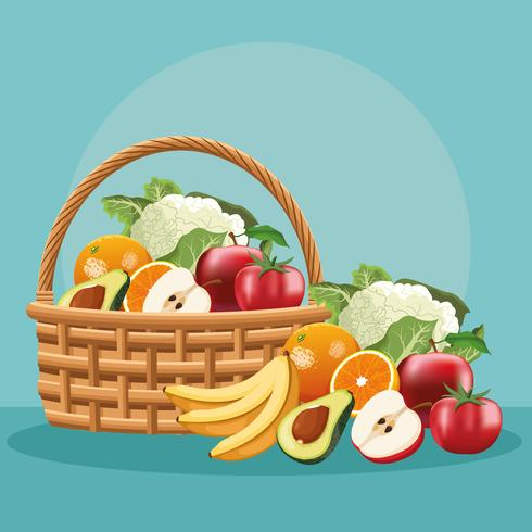 Frutas e vegetais na cesta vetor
