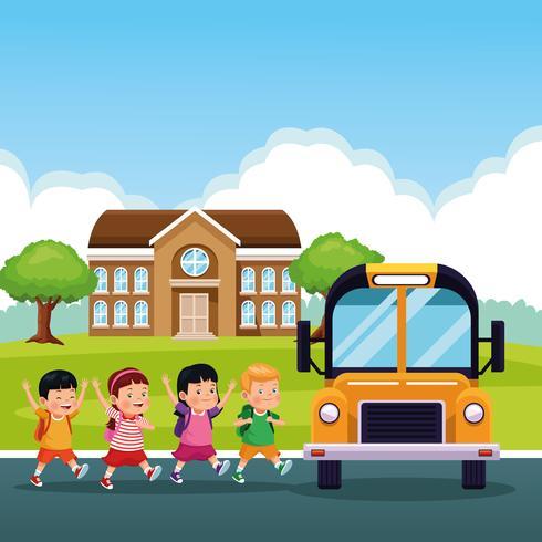 De volta aos desenhos animados das crianças da escola vetor
