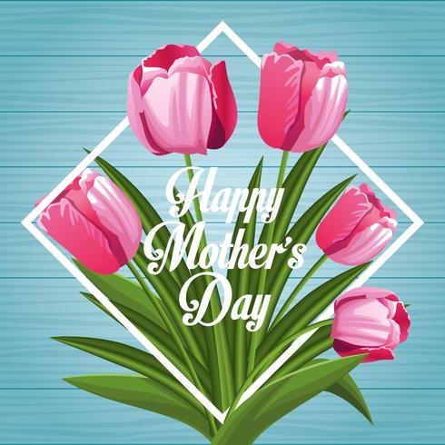 Cartão de dia das mães feliz vetor