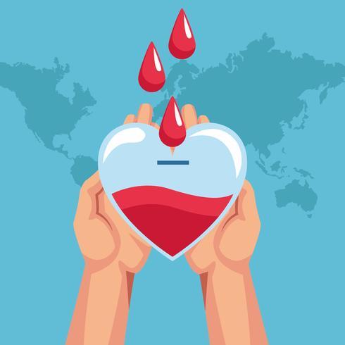 Desenhos de caridade doação de sangue vetor