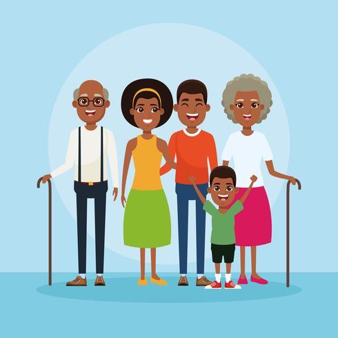 Família com desenhos animados de crianças vetor