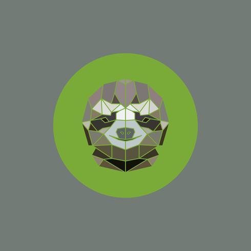 Cabeça geométrica estilizado dos animais africanos da preguiça. vetor