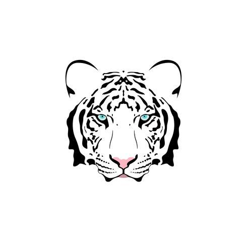 Vector a ilustração de uma cabeça branca do tigre com olhos azuis.