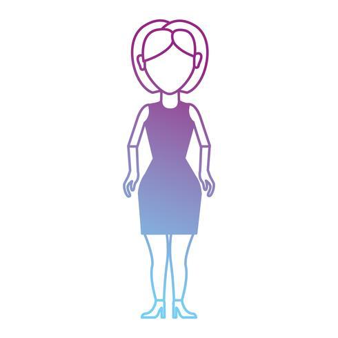linha mulher com penteado e vestido design vetor