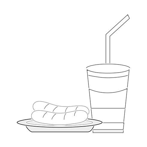 linha delicios salsicha e soda copo de plástico refeição vetor