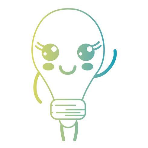 linha kawaii bonito feliz bulbo energia vetor
