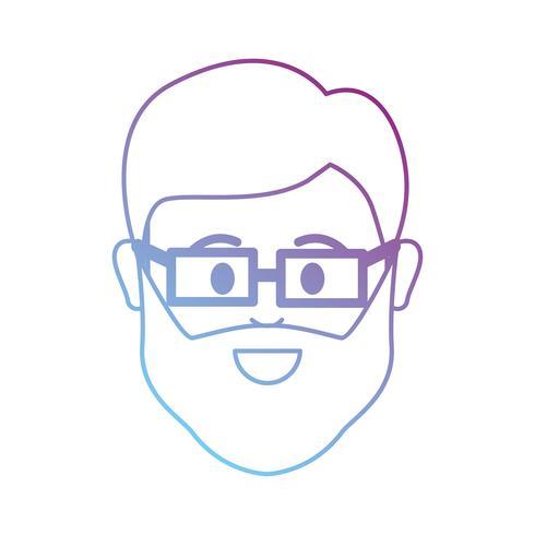 cabeça de homem de avatar de linha com design de penteado vetor