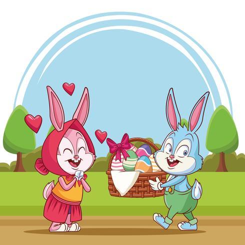 Desenhos animados de Páscoa feliz vetor